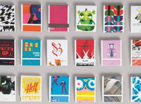 Agência B & A imprimiu exemplos do trabalho de seus artistas em caixas de fósforos.