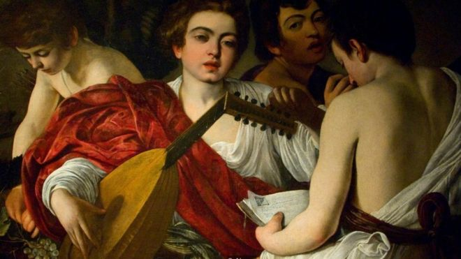Pintores barrocos usaram o vermelho proveniente da cochonilha em suas obras, como Caravaggio em 'Os músicos' (1595) | Foto: Alamy